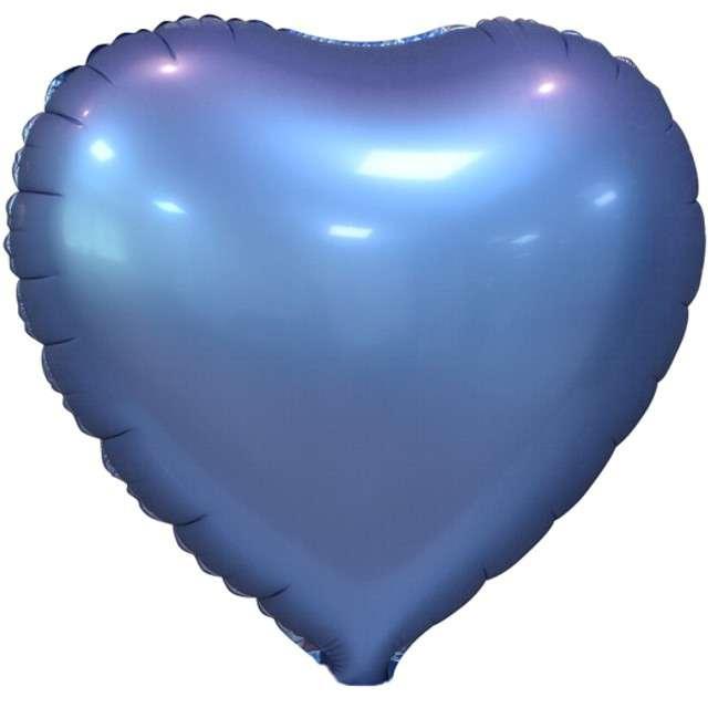 "Balon foliowy ""Serce Matowe"", niebieski, GODAN, 18"" HRT"