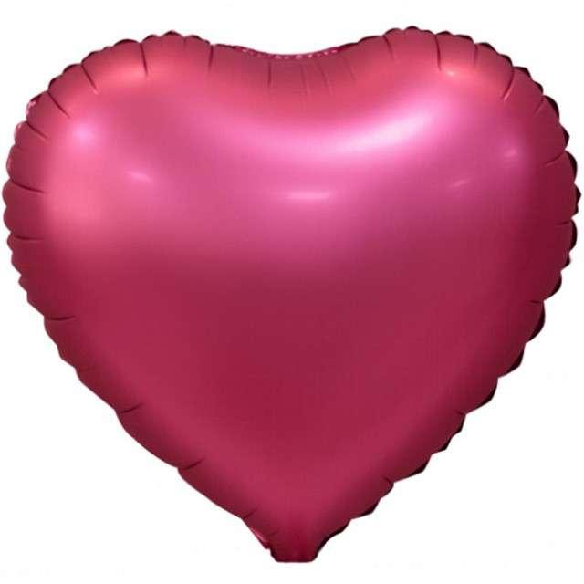 """Balon foliowy """"Serce Matowe"""", różowy ciemny, GODAN, 18"""" HRT"""