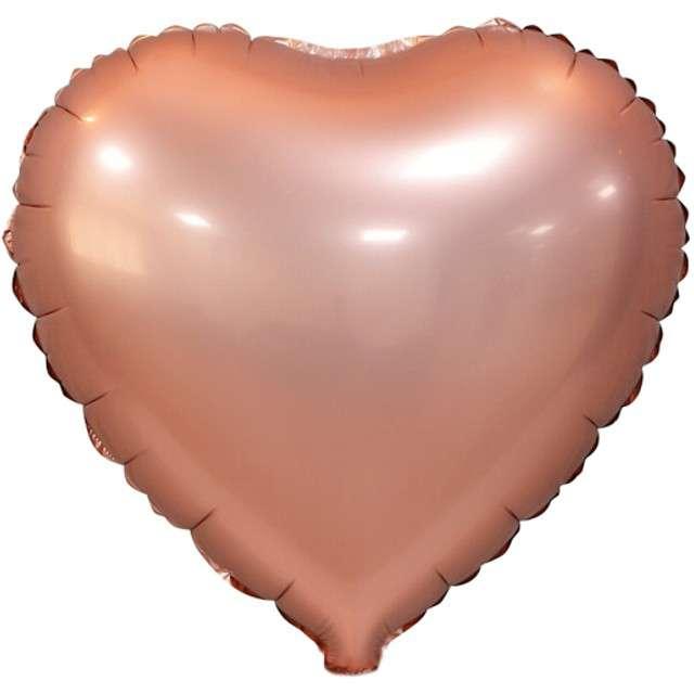 """Balon foliowy """"Serce Matowe"""", różowo-złoty, GODAN, 18"""" HRT"""