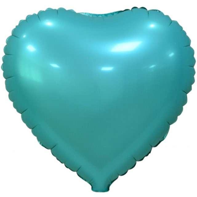"""Balon foliowy """"Serce Matowe"""", turkusowy, GODAN, 18"""" HRT"""