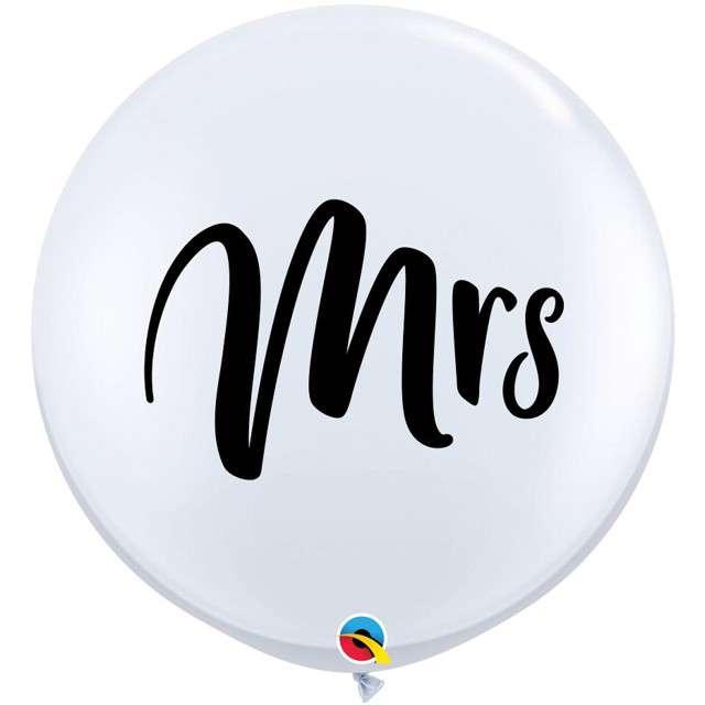 Balon Mrs - Panna Młoda biały Qualatex 36 2szt