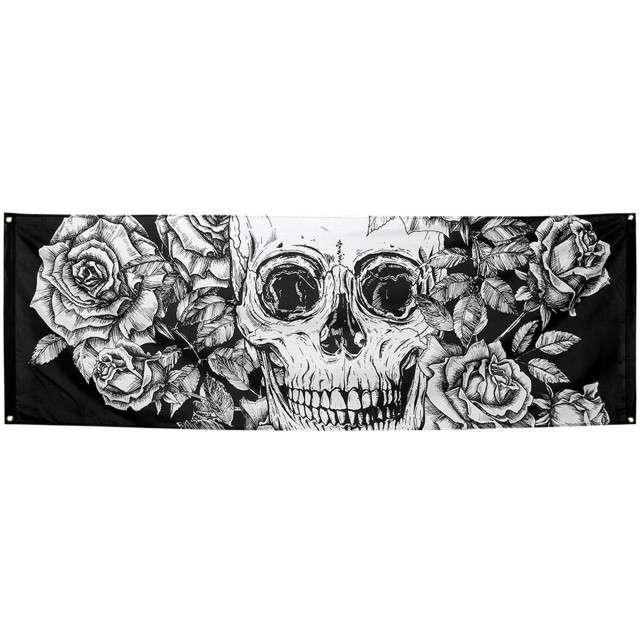 Baner Czaszka z kwiatami - Święto Zmarłych Boland 74 x 220cm