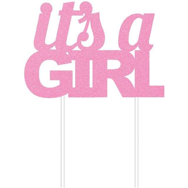 Dekoracja na tort Its a Girl różowa CreativeConverting 1 szt