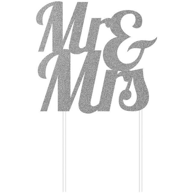 "Dekoracja na tort ""Mr & Mrs"", srebrna, Godan, 23 cm"