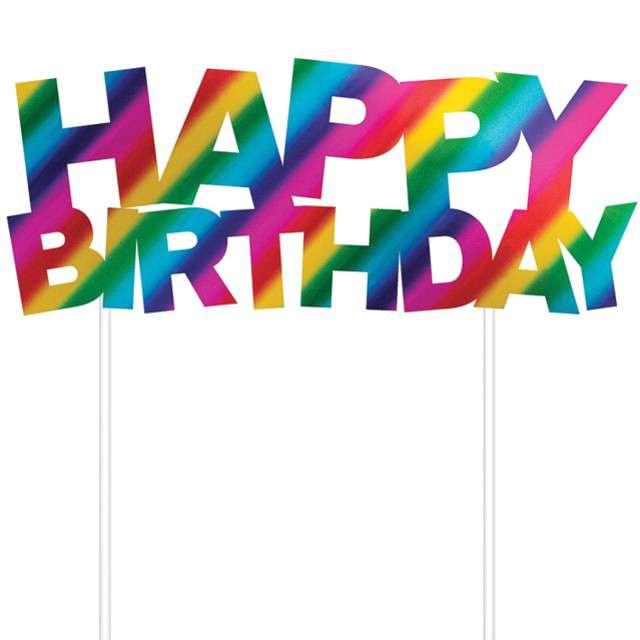 _xx_Dekoracja tortowa Happy Birthday, 14 x 18 cm