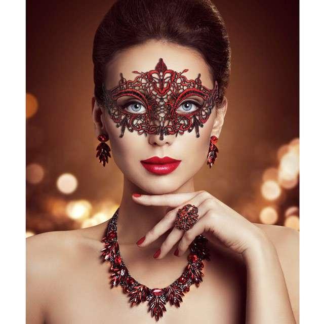 Maska karnawałowa Czerwona Łza czerwona ażurowa Godan