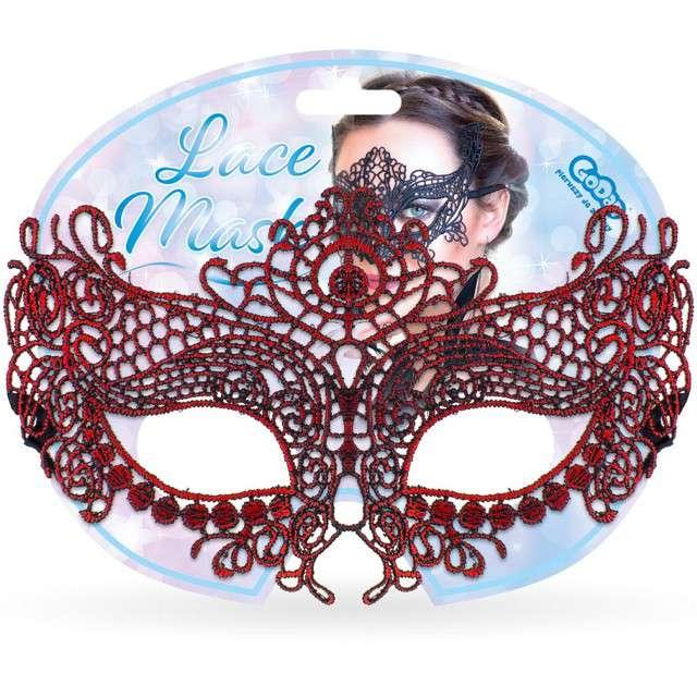 Maska karnawałowa Nieznajoma czerwona ażurowa Godan