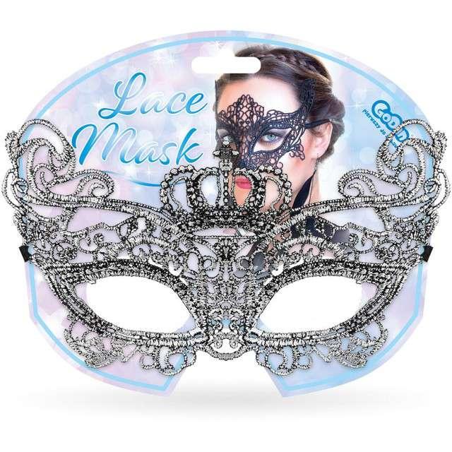 Maska karnawałowa Królowa srebrna ażurowa Godan