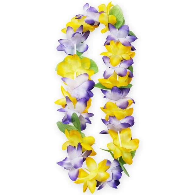 """Naszyjnik Hawajski """"Aloha"""", żółto fioletowy, Godan, 120 cm"""