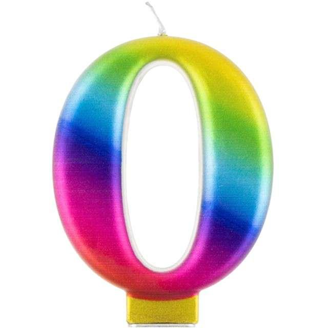 """Świeczka na tort """"Cyfra 0"""", tęczowa, Godan, 9,5 cm"""