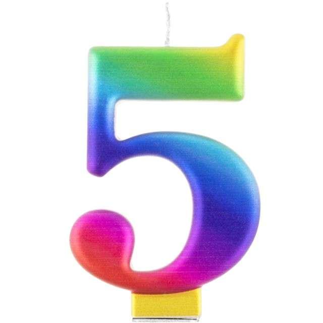 """Świeczka na tort """"Cyfra 5"""", tęczowa, Godan, 9,5 cm"""