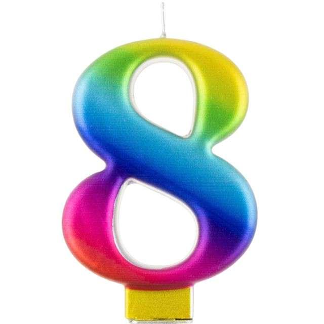 """Świeczka na tort """"Cyfra 8"""", tęczowa, Godan, 9,5 cm"""