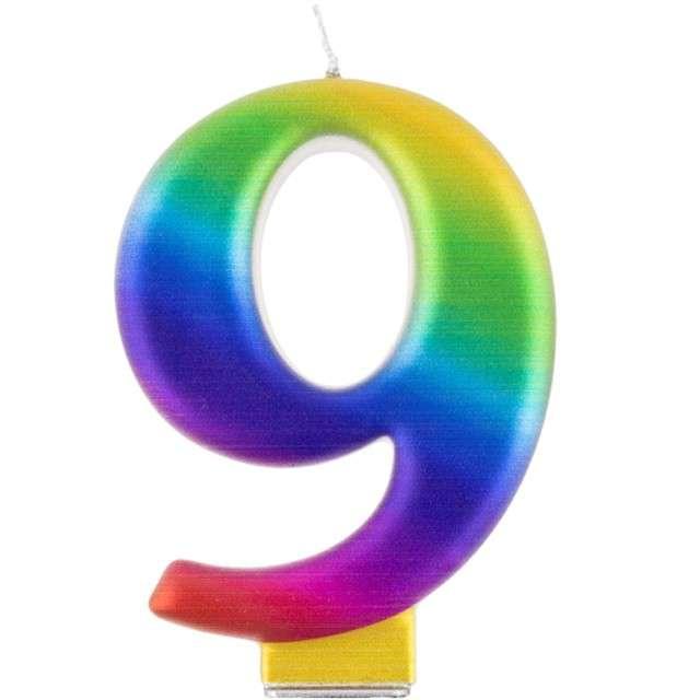 """Świeczka na tort """"Cyfra 9"""", tęczowa, Godan, 9,5 cm"""