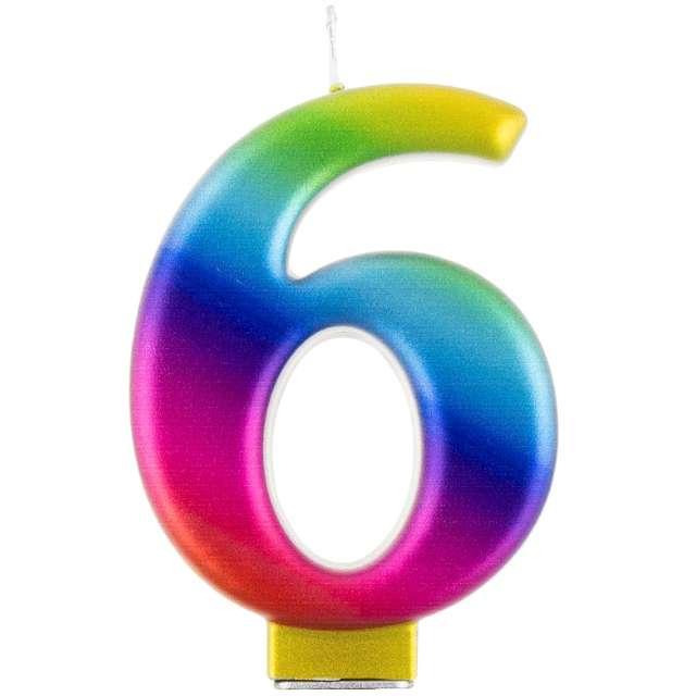 """Świeczka na tort """"Cyfra 6"""", tęczowa, Godan, 9,5 cm"""