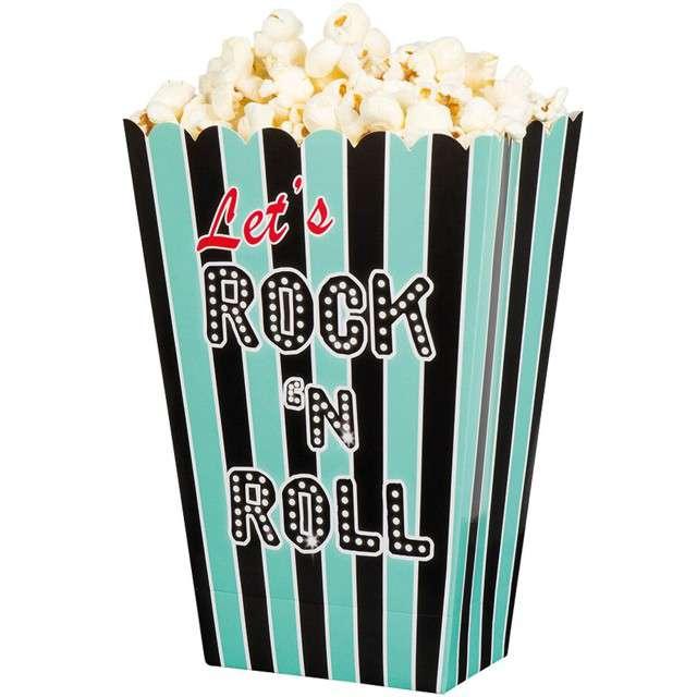 "Pudełko na popcorn ""Paski - Lets Rock n Roll"", czarno-miętowe, BOLAND, 4 szt"