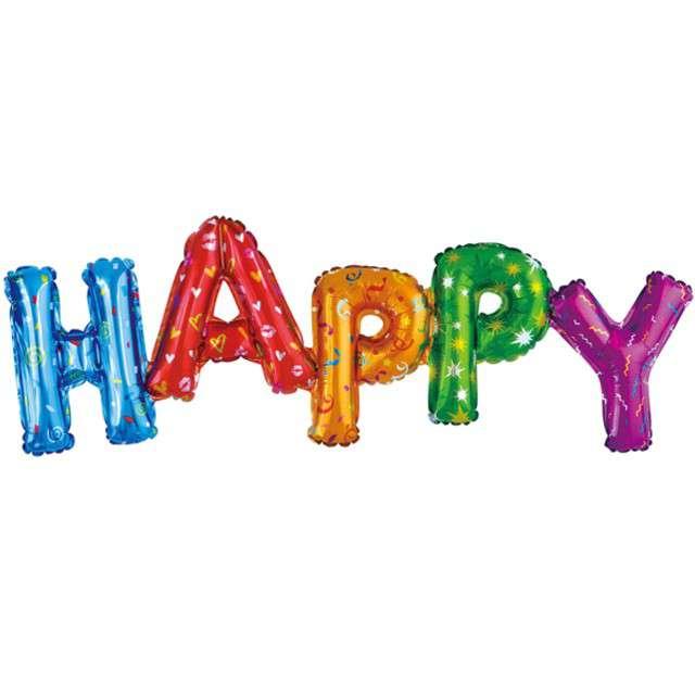 """Balon foliowy """"Napis Happy"""", kolorowy, Godan, 36"""", SHP"""