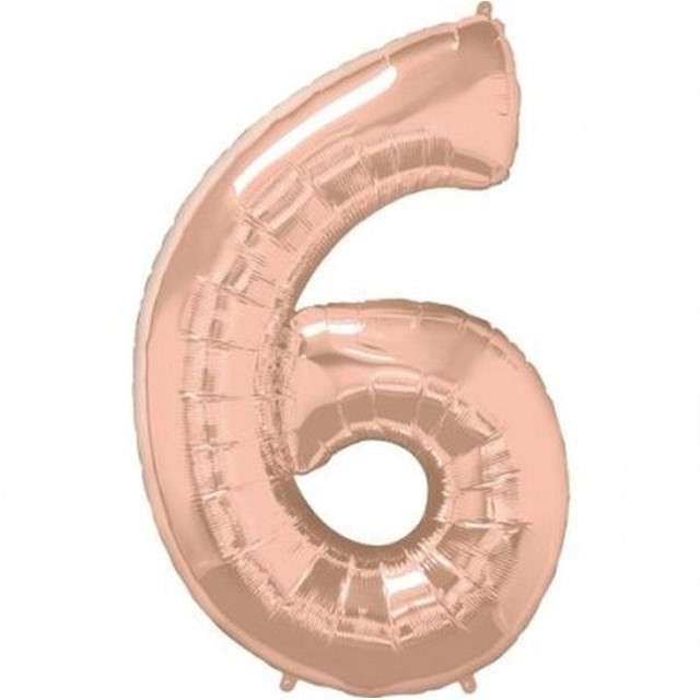 """Balon foliowy """"Cyfra 6"""", różowo-złoty, QUALATEX, 34"""""""