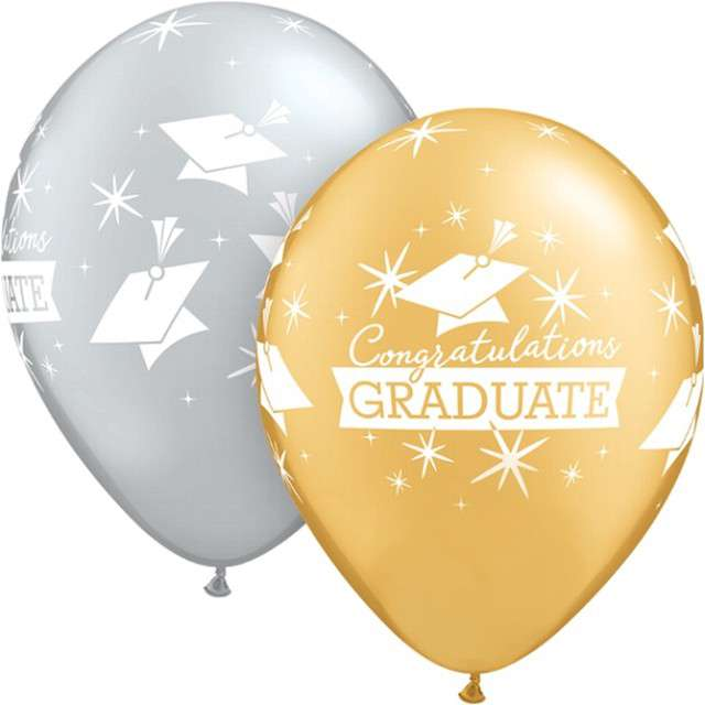 "Balony ""Graduate"", mix, Qualatex, 11"", 25 szt"