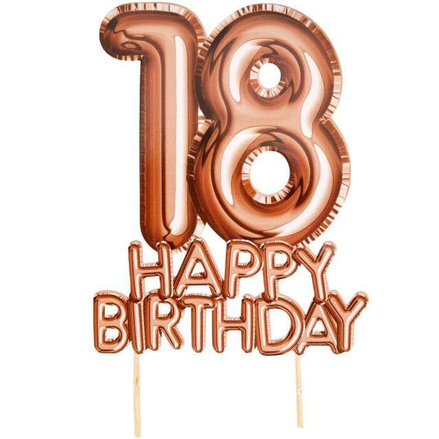 """Dekoracja na tort """"18 Urodziny - Glitz & Glamour"""", różowe złoto, NEVITI, 22 cm"""