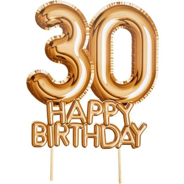 """Dekoracja na tort """"30 Urodziny - Glitz & Glamour"""", złoty, NEVITI, 22 cm"""