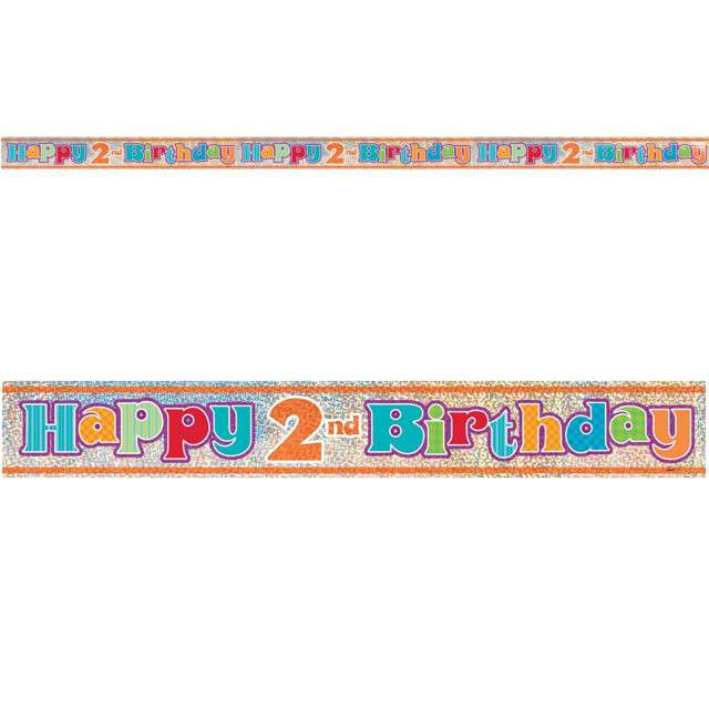 "Baner foliowy ""Happy Birthday 2nd - 2 urodziny"", UNIQUE, 365 cm"
