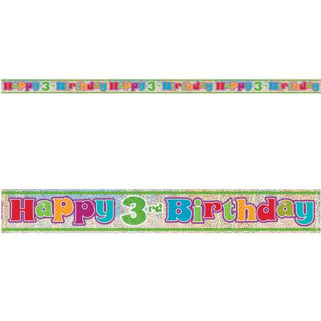 "Baner foliowy ""Happy Birthday 3rd - 3 urodziny"", UNIQUE, 365 cm"