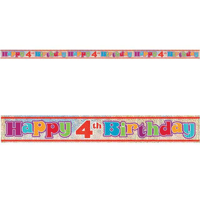 "Baner foliowy ""Happy Birthday 4th - 4 urodziny"", UNIQUE, 365 cm"