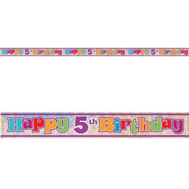 "Baner foliowy ""Happy Birthday 5th - 5 urodziny"", UNIQUE, 365 cm"