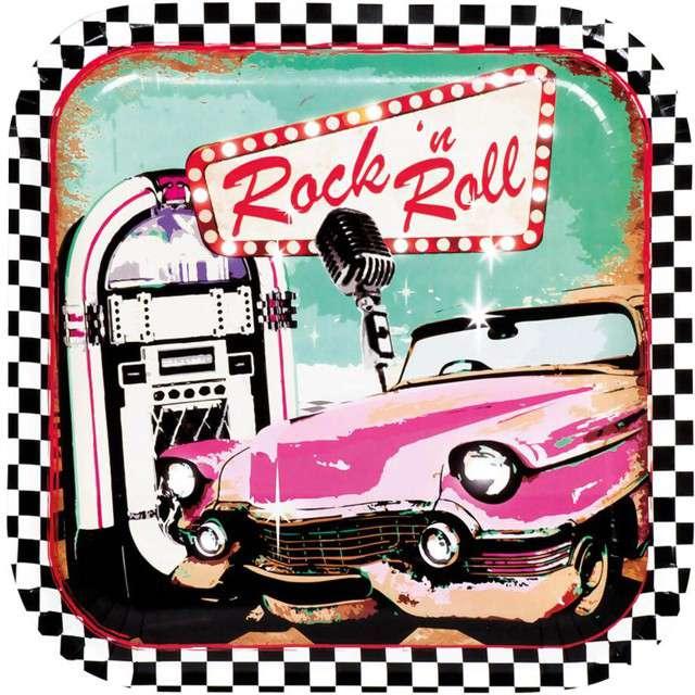 """Talerzyki papierowe """"Rock and Roll"""" 23cm, 6szt"""