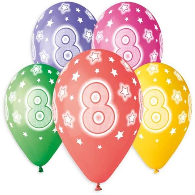 """Balony """"Premium - Cyfra 8"""", mix, Godan, 13"""", 5 szt"""
