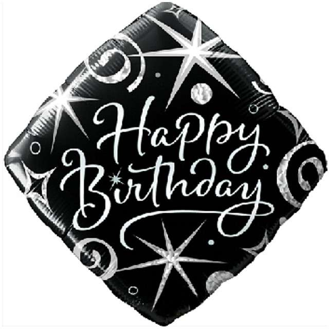 """Balon foliowy """"Happy Birthday"""", czarno-biały, Qualatex, 18"""" SQR"""