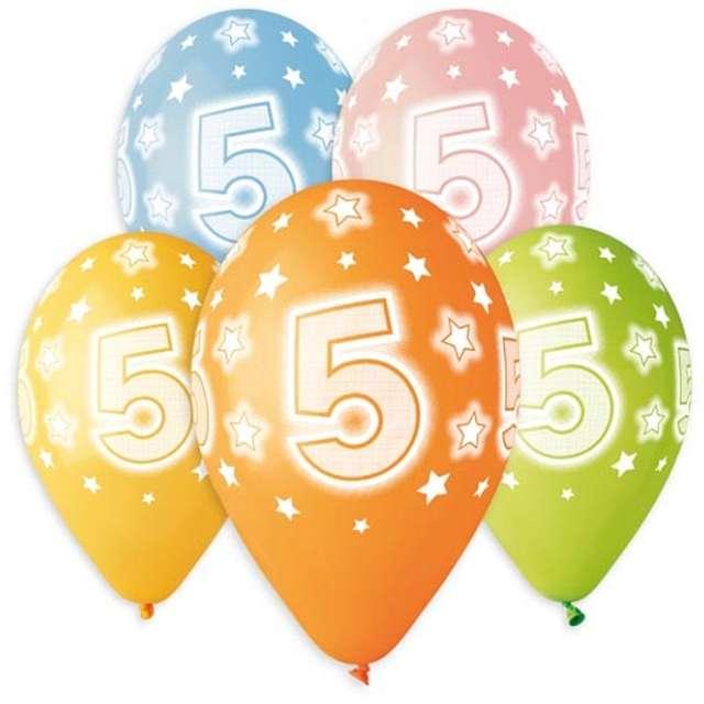 """Balony """"Premium - Cyfra 5"""", mix, Godan, 13"""", 5 szt"""