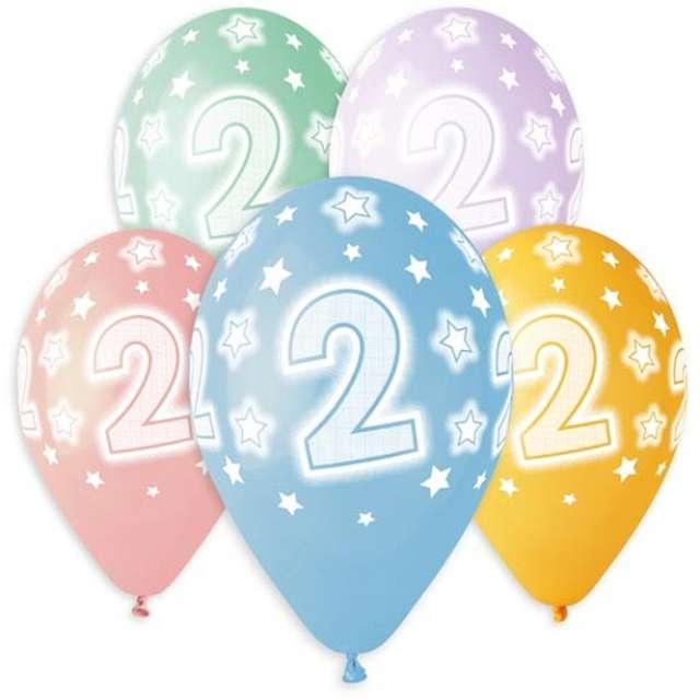 """Balony """"Premium - Cyfra 2"""", mix, Godan, 13"""", 5 szt"""