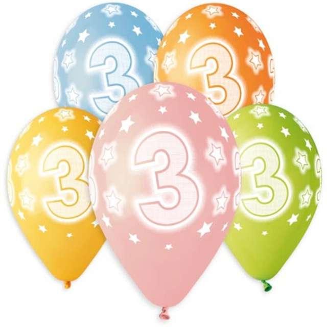 """Balony """"Premium - Cyfrra 3"""", mix, Godan, 13"""", 5 szt"""