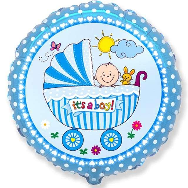 """Balon foliowy """"Wózek dla chłopca"""", Flexmetal, 18"""" RND"""
