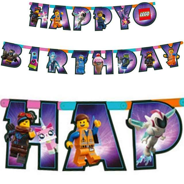 _xx_Girlanda Lego Movie 2 - Happy Birthday, 163x13 cm