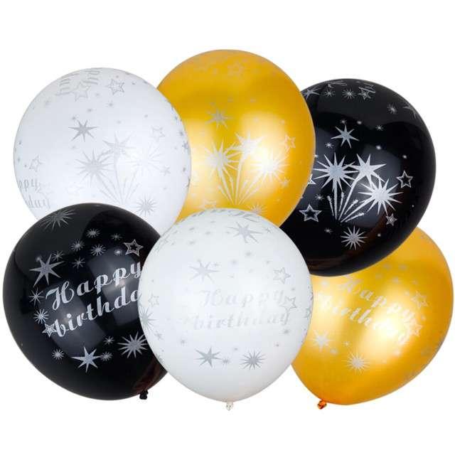"""Balony """"Happy Birthday"""", mix, CZAKOS, 12"""", 6 szt"""
