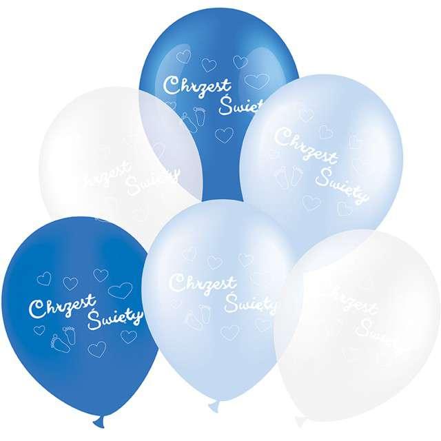 """Balony """"Chrzest Święty"""", niebieski mix, CZAKOS, 12"""", 6 szt"""