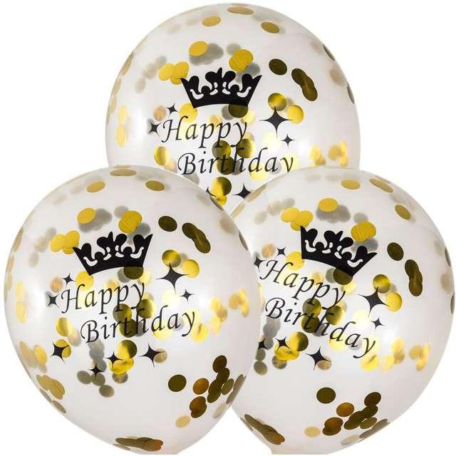 """Balony """"Happy Birthday ze złotym konfetti"""", transparentne, Czakos, 3 szt"""