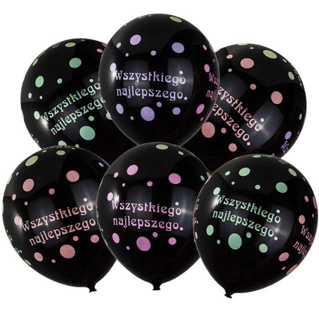 """Balony """"Wszystkiego Najlepszego"""", czarne, CZAKOS, 12"""", 6 szt"""
