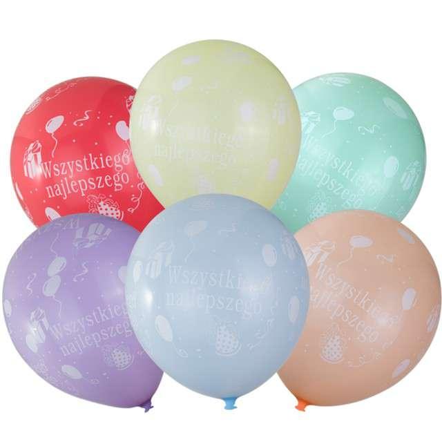 """Balony """"Wszystkiego Najlepszego"""", mix, CZAKOS, 12"""", 6 szt"""