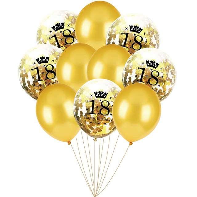 """Balony """"Happy Birthday Konfetti - 18"""", złote, Czakos, zestaw"""