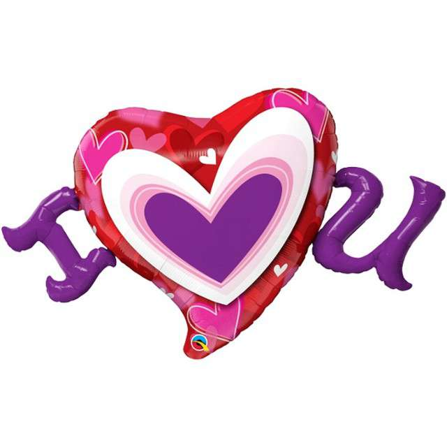 "Balon foliowy ""Walentynki - I heart You"", QUALATEX, 46"" SHP"