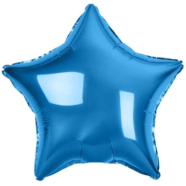 """Balon foliowy """"Gwiazda"""", niebieski metalik, Godan, 19"""" STR"""