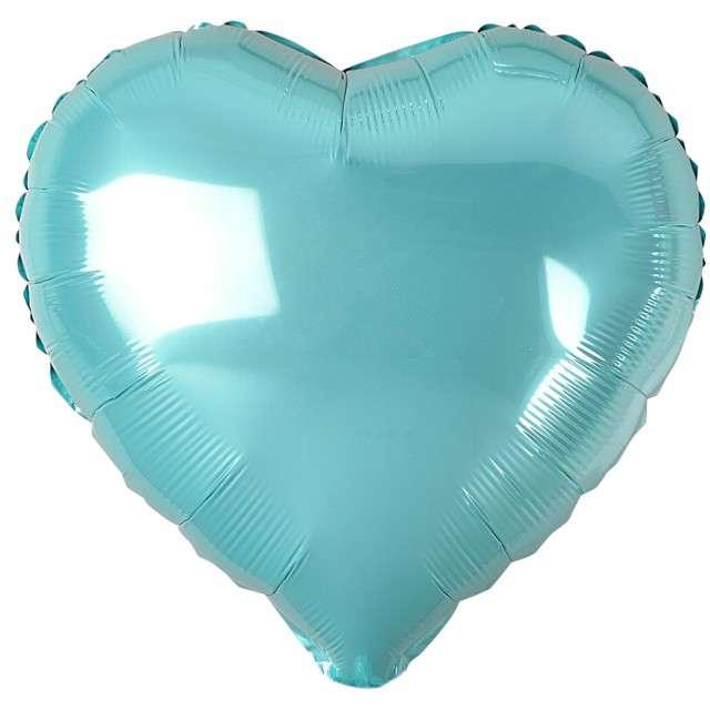 """Balon foliowy """"Serduszko"""", niebieski jasny metalik, Godan, 18"""" HRT"""