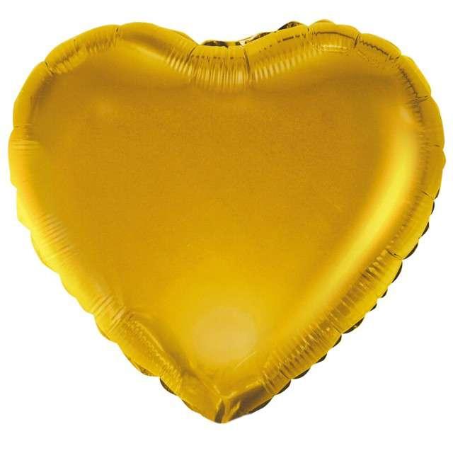 """Balon foliowy """"Serduszko"""", złoty satynowy, Godan, 18"""" HRT"""