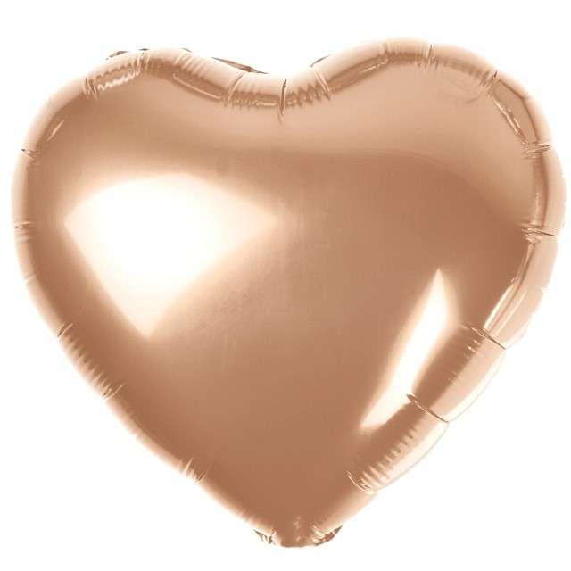 """Balon foliowy """"Serduszko"""", różowe złoto metalik, Godan, 18"""" HRT"""