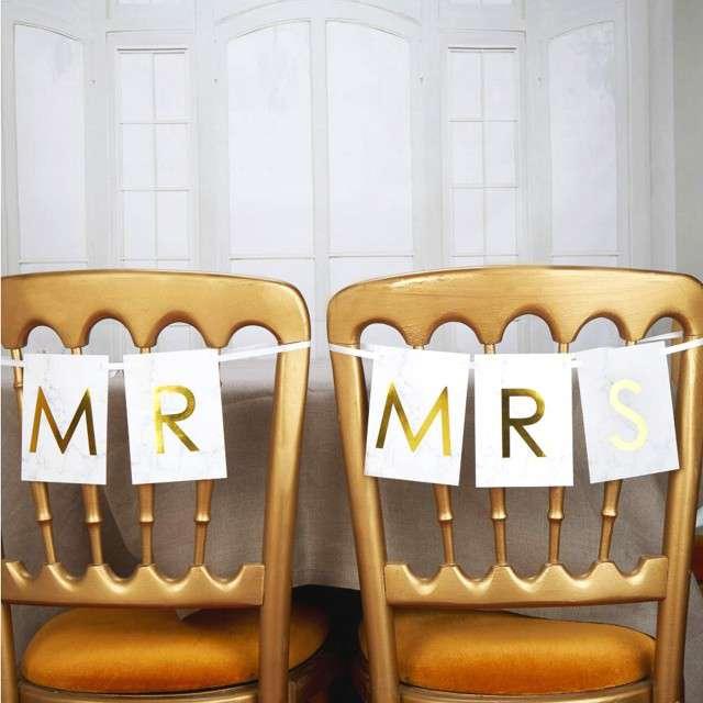 Banner flagi na krzesło Mr & Mrs złoty Godan