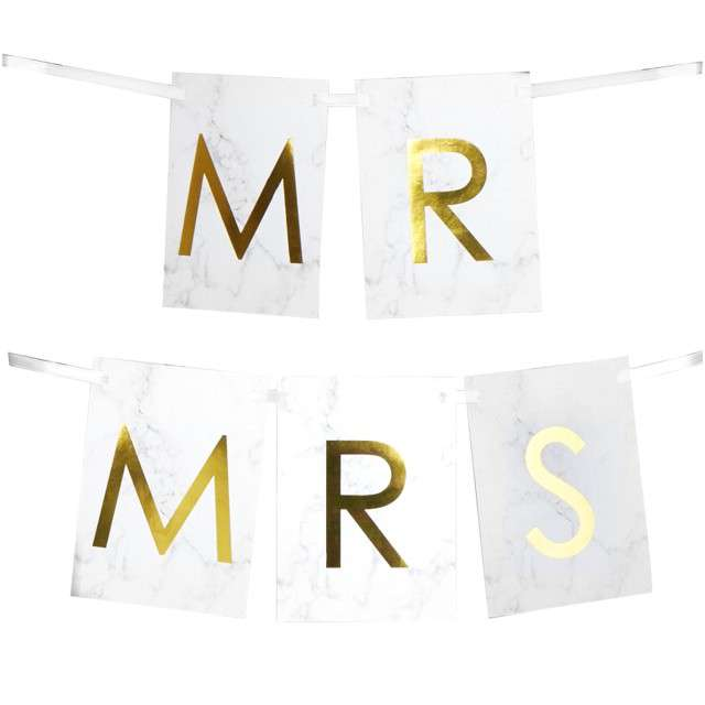 """Banner flagi na krzesło """"Mr & Mrs"""", złoty, Godan"""
