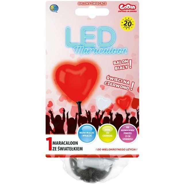 "Balon  "" Serce LED"", czerwone, Godan, 10"""